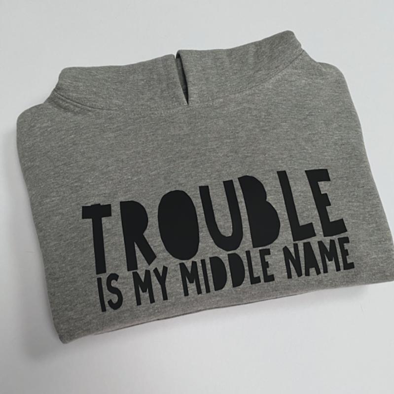 Trouble is Middle Name Grey Marl Kids Hoodie