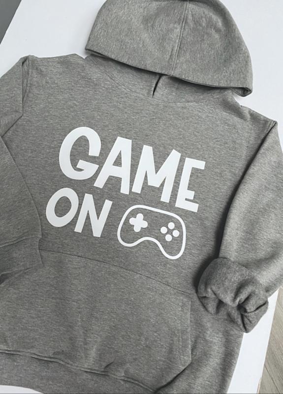 Game On Grey Marl Kids Unisex Hoodie