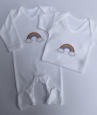 Rainbow Embroidered Romper & Vest Set