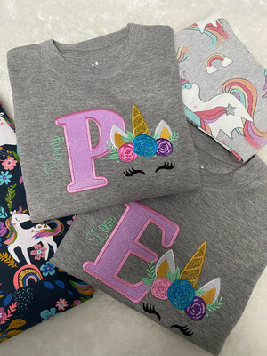 Glitter Unicorn Personalised Long Sleeve T-shirt Grey Marl