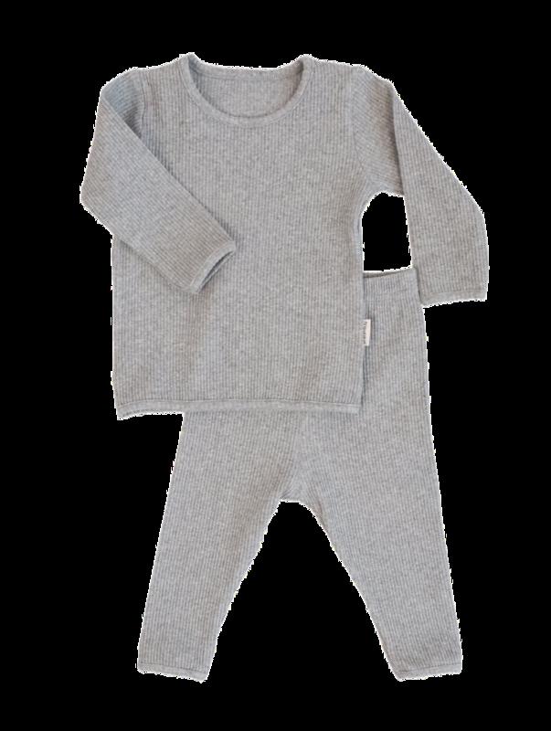 Adult Unisex Personalised Ribbed Lounge Set - Grey