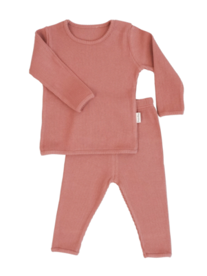 Personalised Ribbed Lounge Set - Heather Pink