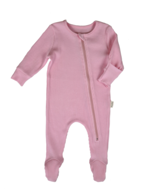 Zip Up Ribbed Romper - Candy Pink
