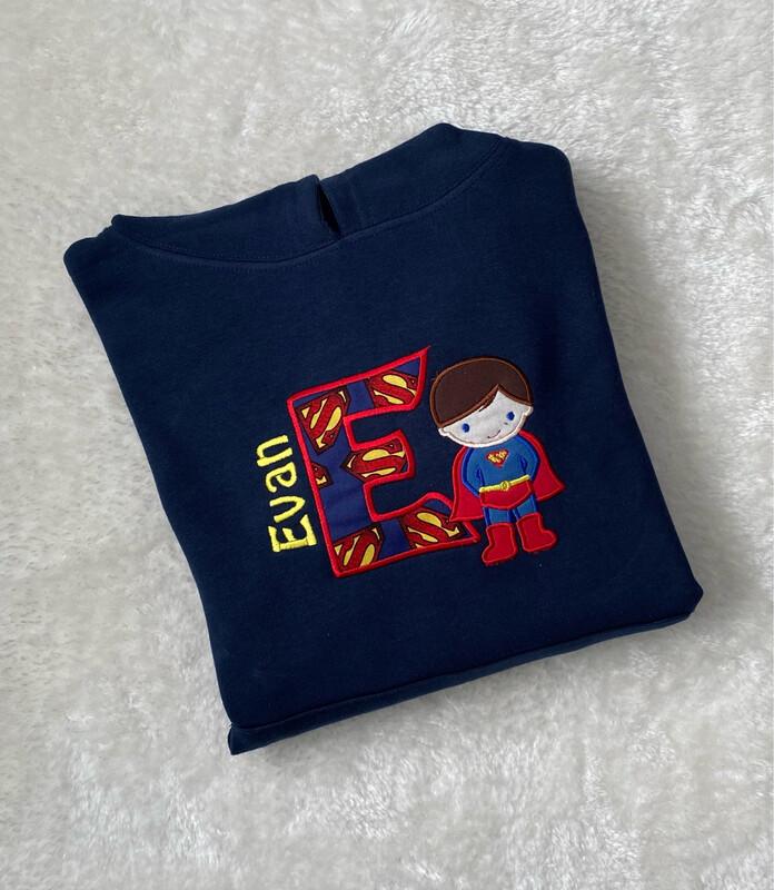 Personalised Superboy Kids Hoodie Navy