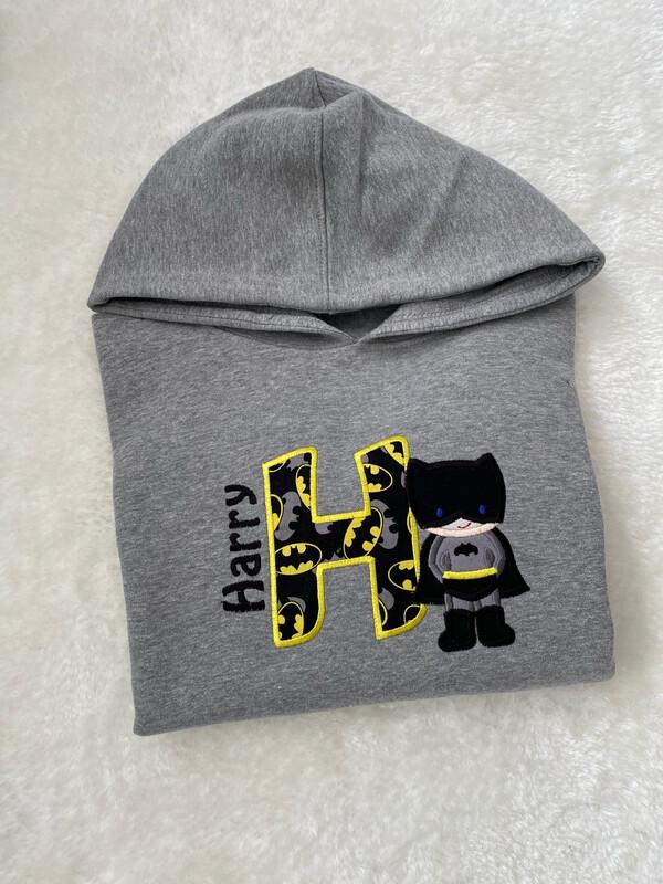 Personalised Batboy Kids Hoodie Grey Marl