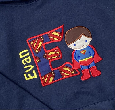 Personalised Superboy Kids Hoodie Navy
