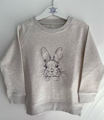 Embroidered Rabbit Cream Heather Sweatshirt