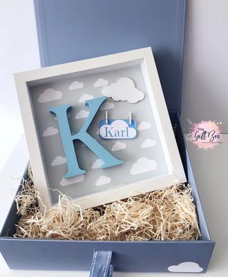 Grey Cloud Personalised Frame & Keepsake Box - Blue