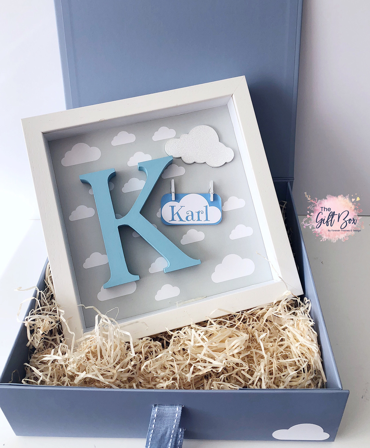 Grey Cloud Personalised Frame & Keepsake Box - Blue