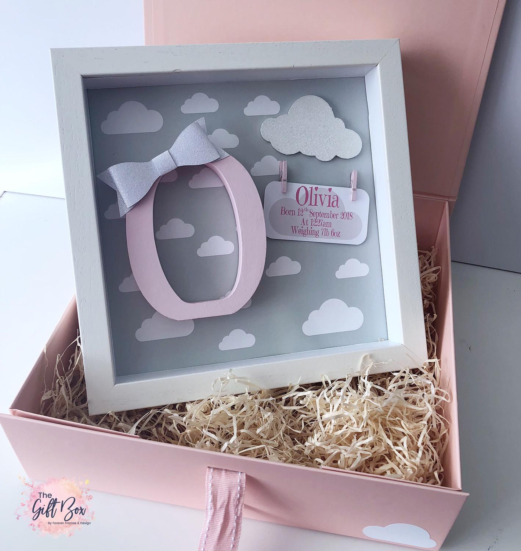 Grey Cloud Personalised Frame & Keepsake Box - Pink