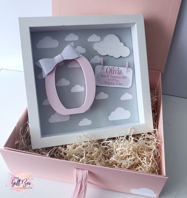 Grey Cloud Personalised Frame & Keepsake Box - Pink