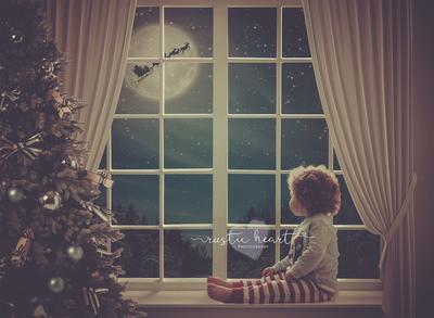 Christmas Tree Window Backdrop Set
