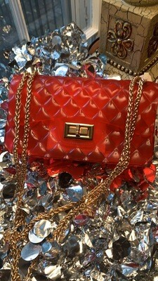 """Red """"Jelly"""" Chain Purse"""