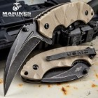 USMC Scorching Sands Assisted Opening Hawkbill Pocket Knife - G10 Handle