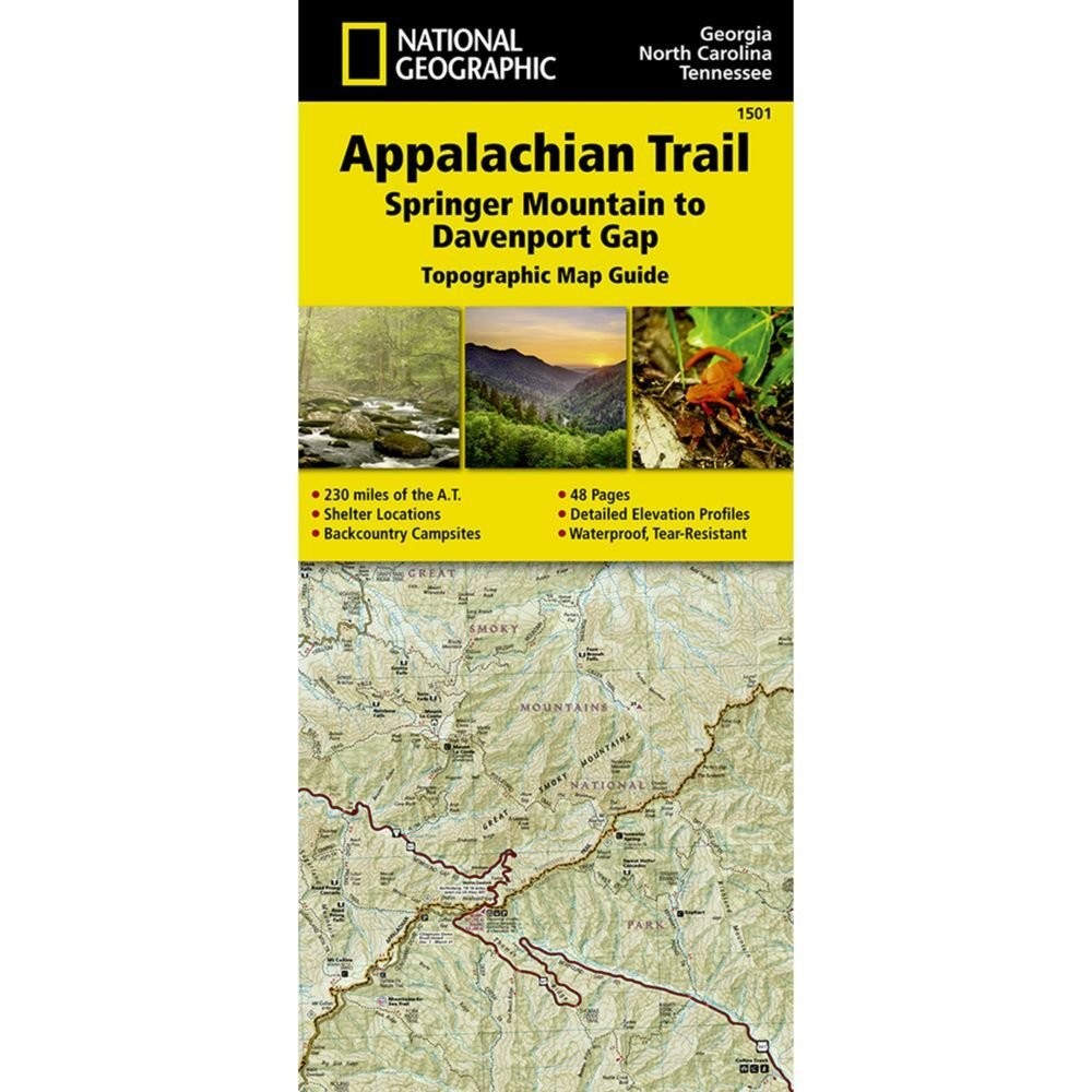 National Geographic # 1501 Appalachian Trail, Springer Mountain to Davenport Gap (Georgia, North Carolina, Tennessee) Trail Map