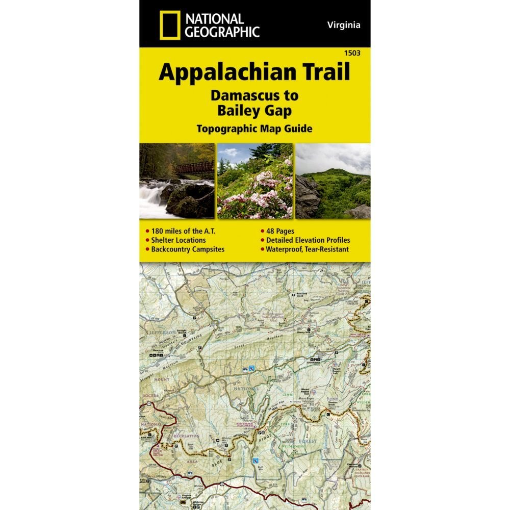 National Geographic # 1503 Appalachian Trail, Damascus to Bailey Gap (Virginia) Trail Map