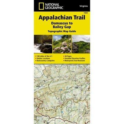 National Geographic # 1503 Appalachian Trail, Damascus to Bailey Gap (Virginia) Trail Map