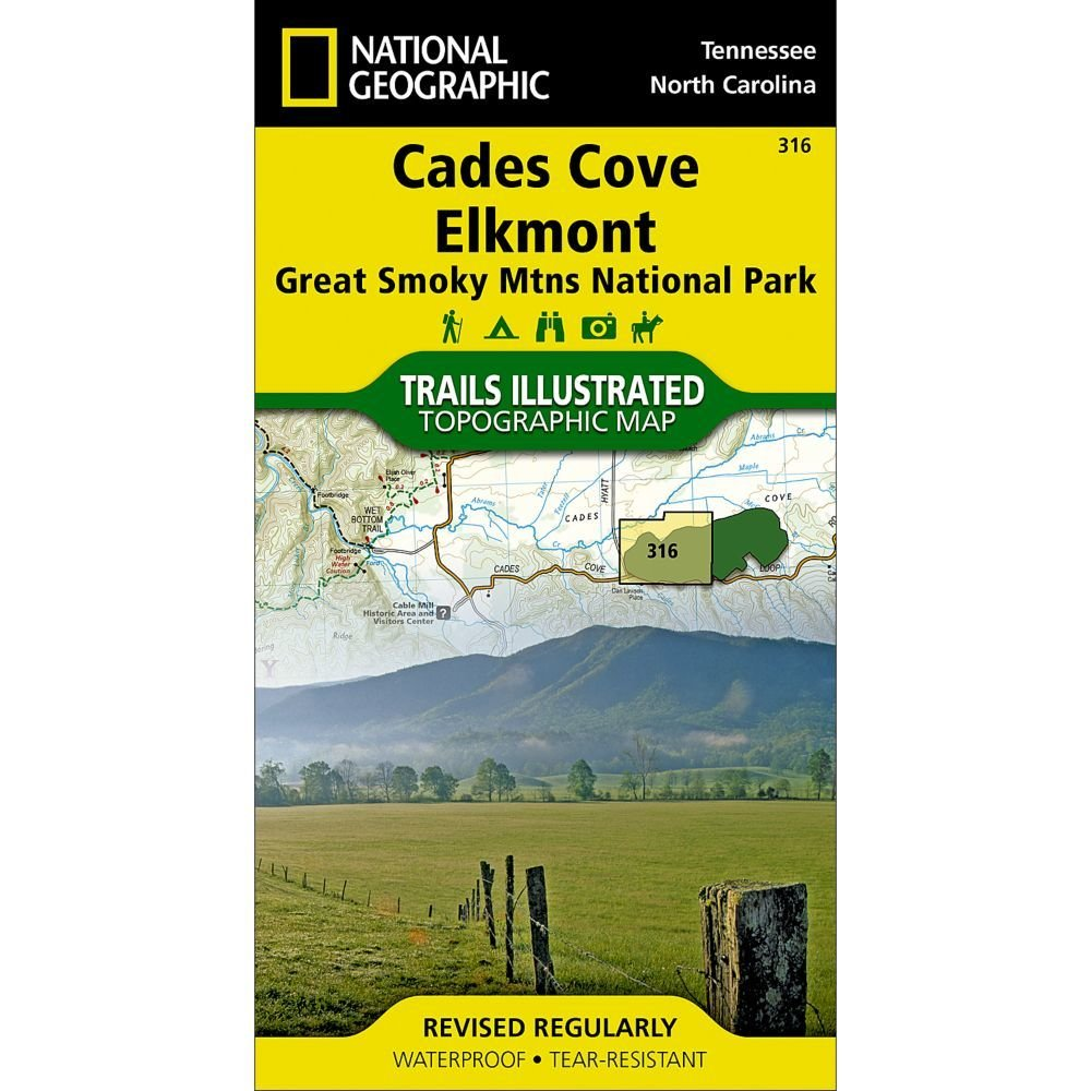 National Geographic # 316 Cades Cove, Elkmont: Great Smoky Mountains National Park Trail Map