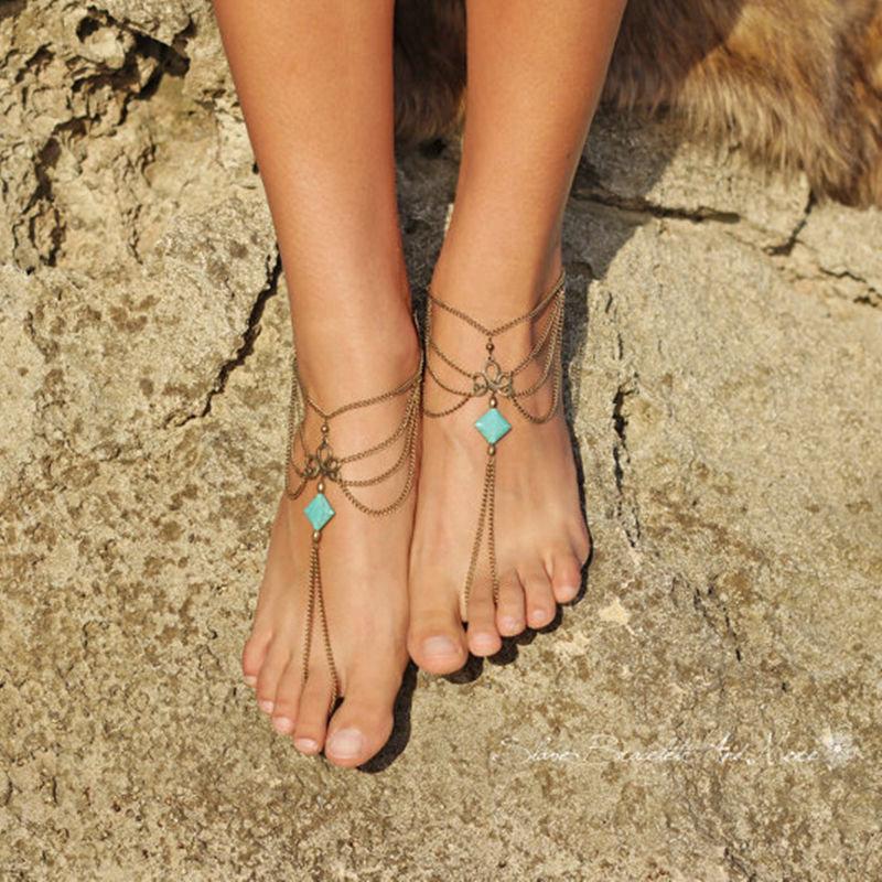 Blue Barefoot Sandals Toe Ring Multilayer Tassel