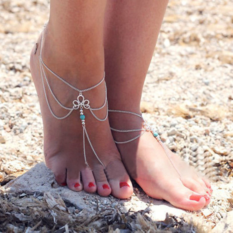 Sandal Barefoot Turquoise And Silver Anklet
