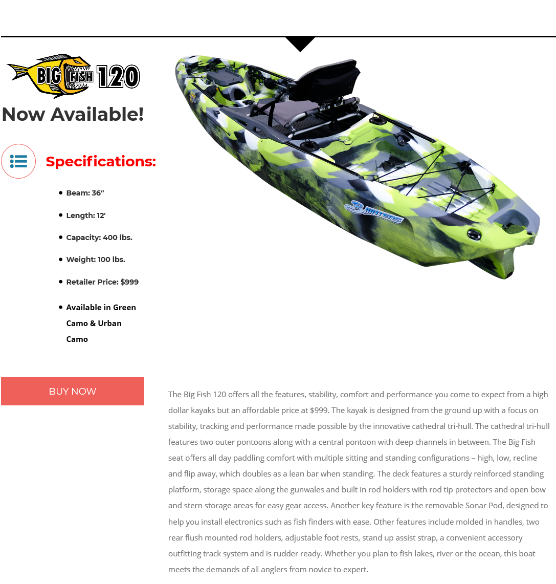 3 Waters Kayaks Big Fish 120 Urban Camo **** Store pickup only No Shipping ****