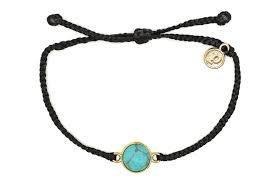 Pura Vida Gold Riveria Stone Black Bracelet