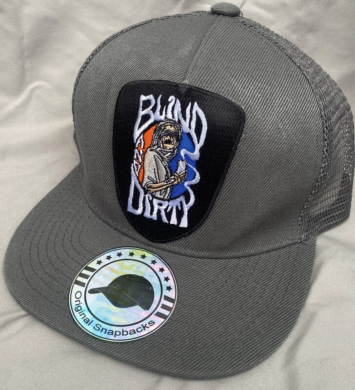 Trucker hat with custom embroidered patch, gray