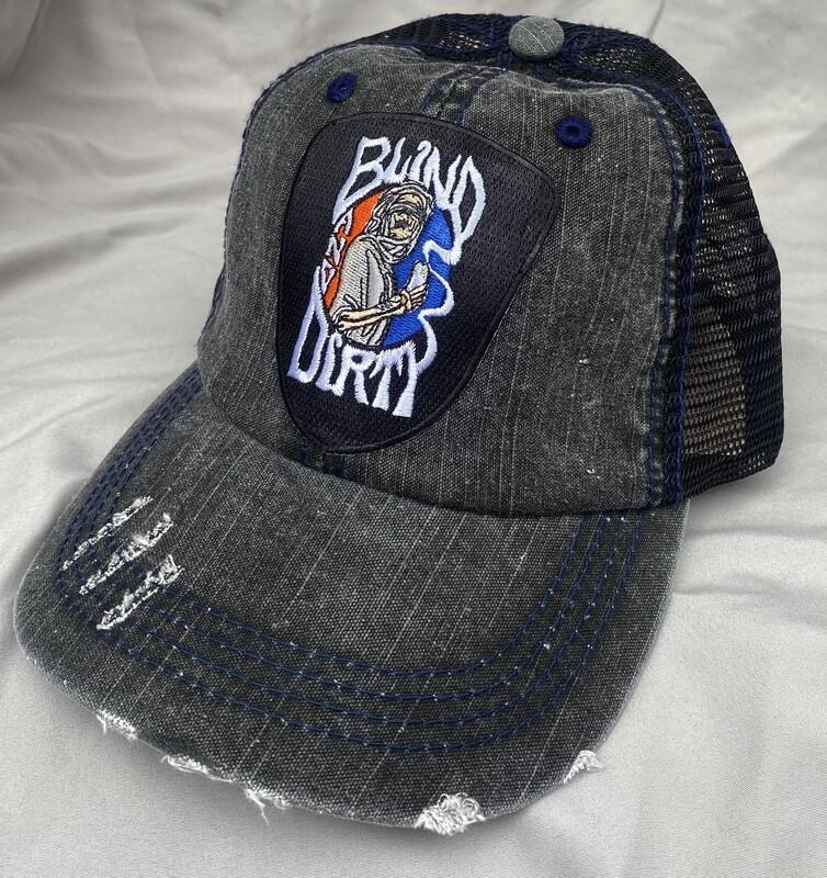 Vintage denim cap, custom embroidered patch
