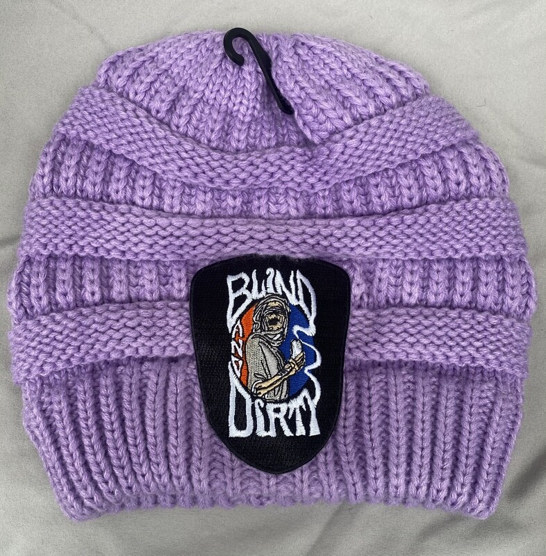 Women's soft knit hat with custom embroidered patch, lavender