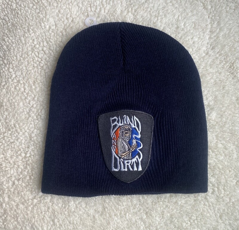 Men's beanie with custom embroidered patch, black