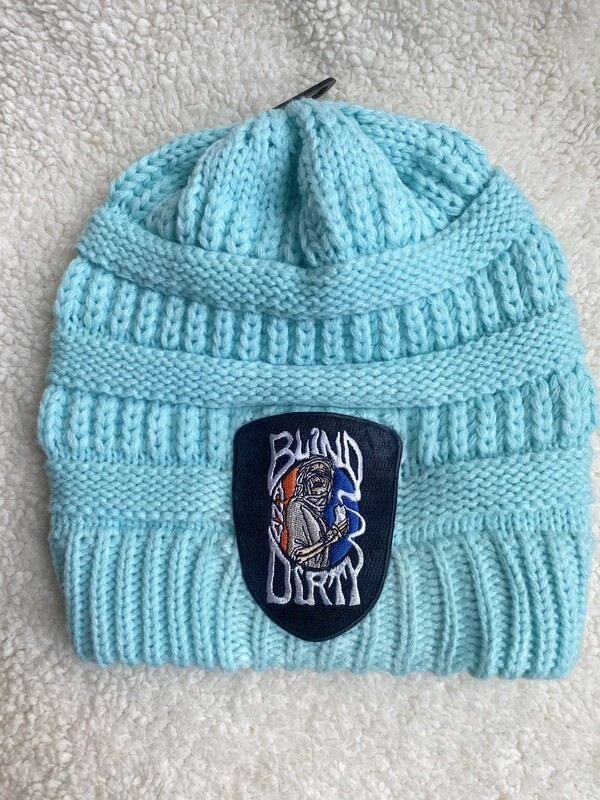 Women's soft knit hat with custom embroidered patch, mint
