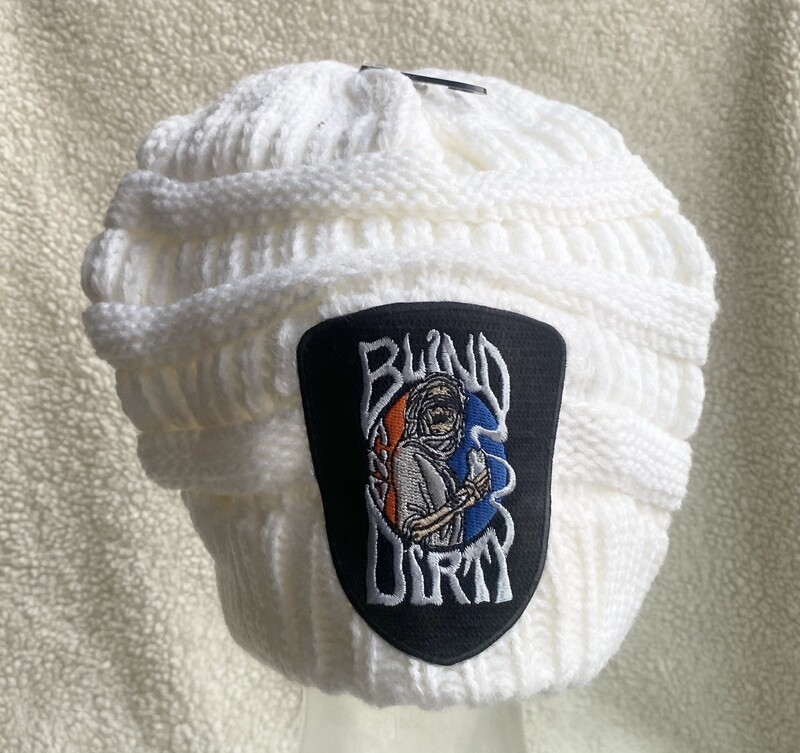 Women's soft knit hat with custom embroidered patch, white
