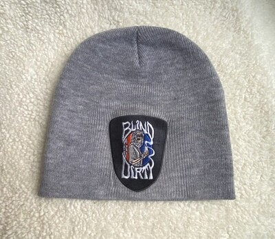 Men's knit beanie with custom embroidered patch, gray