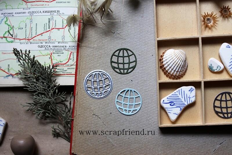 Die Globe grid, 2,5 cm, Scrapfriend