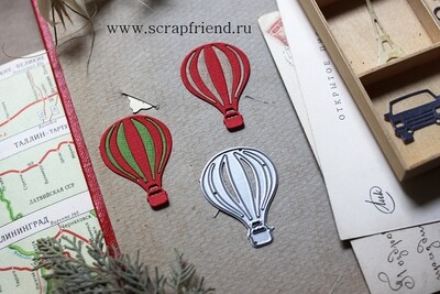Die Air balloon, 3x4 cm, Scrapfriend