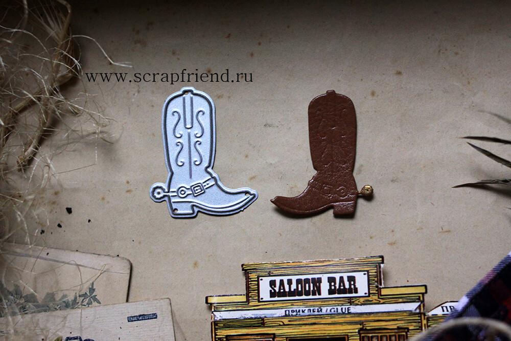 Нож для вырубки Ковбой - Сапог, 3,5х4см, Scrapfriend
