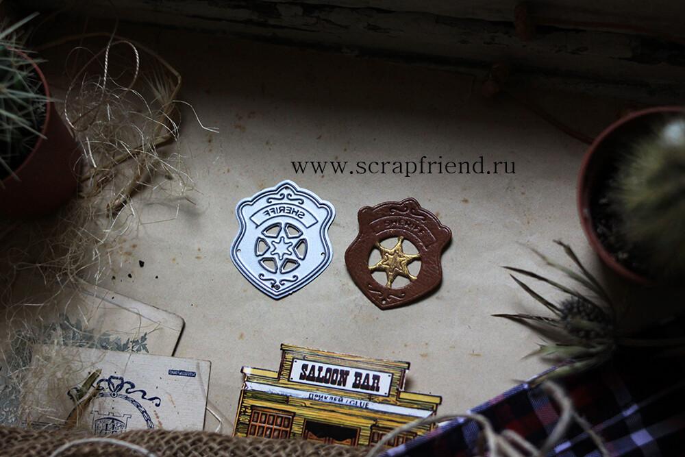 Die Cowboy - Sheriff badge, 3,5x4 cm, Scrapfriend