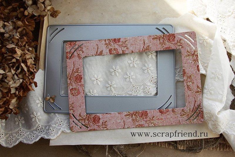 Нож для вырубки Беатрис: Подложка-рамка с прорезями под фотографию 10х15см, Scrapfriend