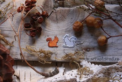 Die Squirrel, 1,5x1,5 cm, Scrapfriend