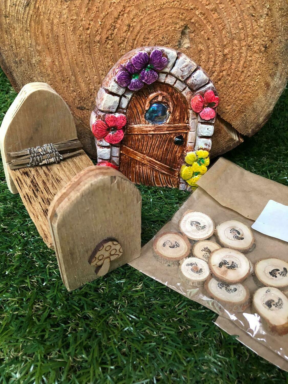 Handmade Fairy Garden Gift Set with Toadstool Bed