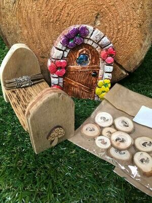 Handmade Fairy Garden Gift Set with Toadstool Bed
