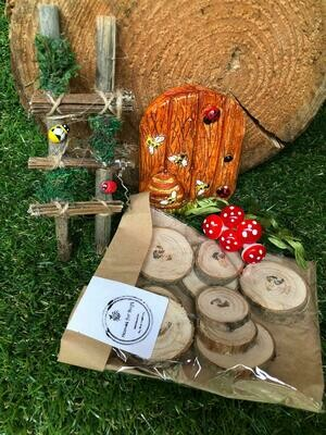 Handmade Fairy Garden Gift Set with Honey Bee Door