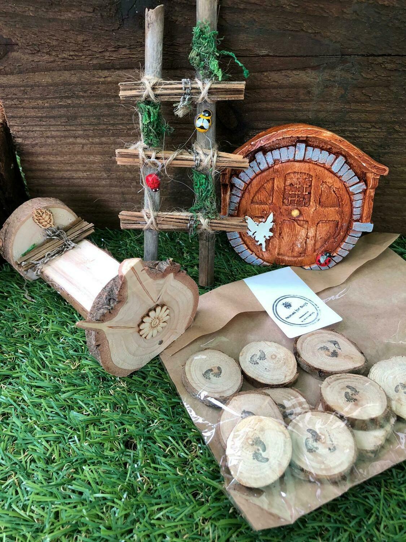Handmade Fairy Garden Gift Set with Round Fairy Door