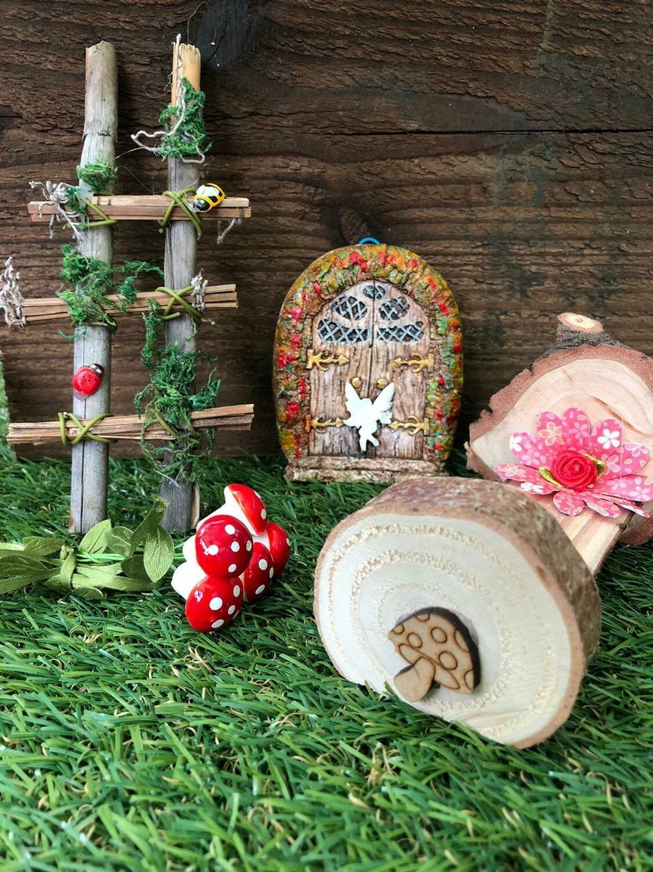 Handmade Fairy Garden Gift Set with Flower Pillow Bed