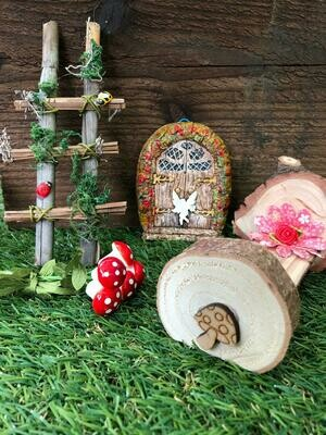 Handmade Fairy Garden Gift Set with Flower Pillow Bed