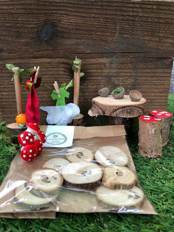 Handmade Fairy Garden Gift Set with Red Dress Washing Line