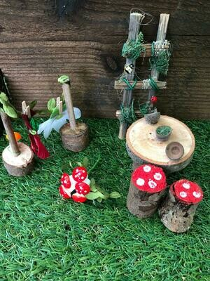 Handmade Fairy Garden Gift Set with Acorn Bowl Table