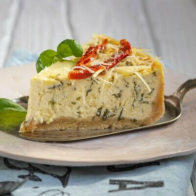 Cheese Please! Savory Appetizer Cheesecake (Mozzarella & Peppers)