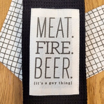 'Meat. Fire. Beer. It's A Guy Thing' Kitchen Boa®