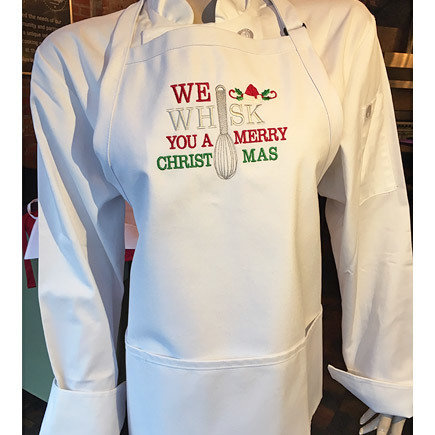 'We Whisk You A Merry Christmas' White Apron